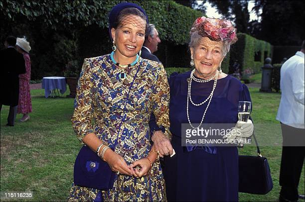 Wedding of Bruno of LimburgStirum and Christine de Lannoy in Anvaing Belgium on July 22 1995 Diane of Wurtemberg with her mother the Countess of Paris