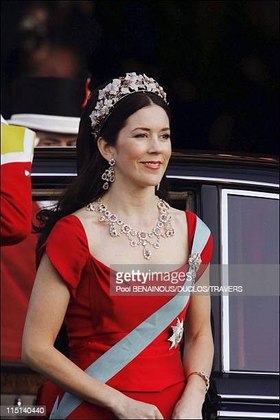 Wedding of Crown Prince Frederik and Miss Mary Elisabeth Donaldson Arrivals for the gala performance in the Royal theatre in Copenhagen Denmark on...