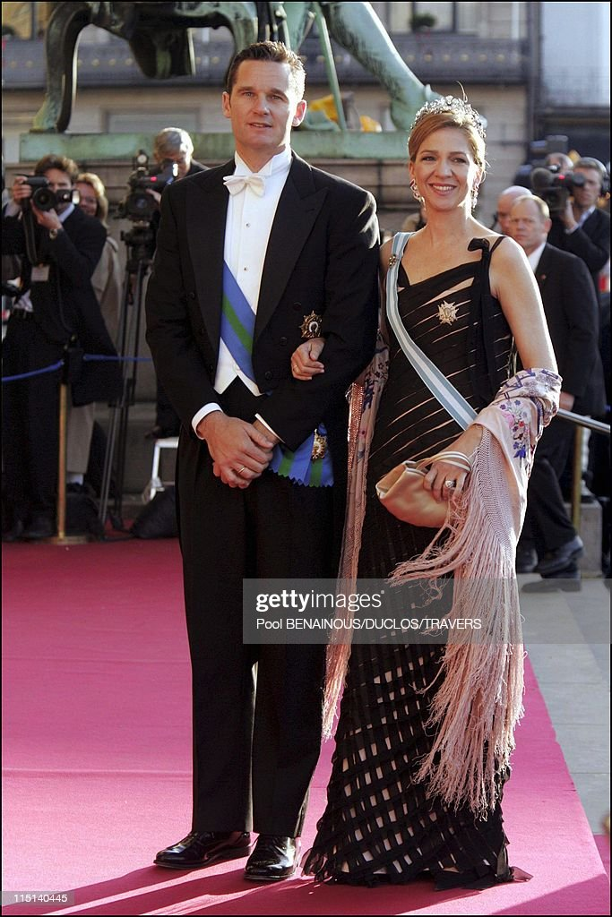 Wedding of Crown Prince Frederik and Miss Mary Elisabeth Donaldson: Arrivals for the gala performance in the Royal theatre in Copenhagen, Denmark on May 13, 2004 - Inaki Urdangarin and Cristina of Spain.