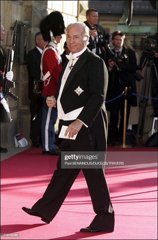 Wedding of Crown Prince Frederik and Miss Mary Elisabeth Donaldson: Arrivals for the gala performance in the Royal theatre in Copenhagen, Denmark on May 13, 2004 - Aga Khan.