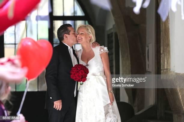 Wedding of dirndl fashion designer Astrid Soell and her partner Volker Woehrle at city hall on March 17 2017 in Regensburg Germany