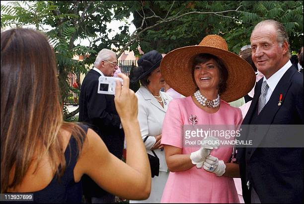 Wedding of Fleur of Wurtemberg and Count Moritz Von Goess In Germany On August 09 2003 Gloria von Thurn und Taxis and Juan Carlos pictured by...