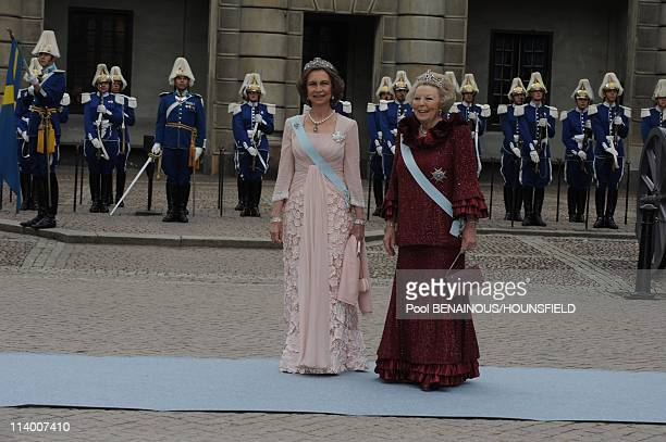Wedding of HRH Crown Princess Victoria of Sweden and Daniel Westling In Stockholm Sweden On June 19 2010Queen Beatrix and Queen Sofia of Spain