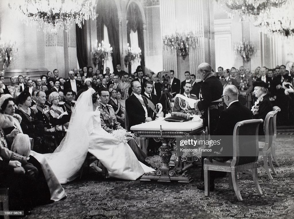 Wedding of King Baudouin I of Belgium with Fabiola de Mora y Aragon in Brussels Belgium on December 15 1960 Civil ceremony in the Royal Palace Throne...