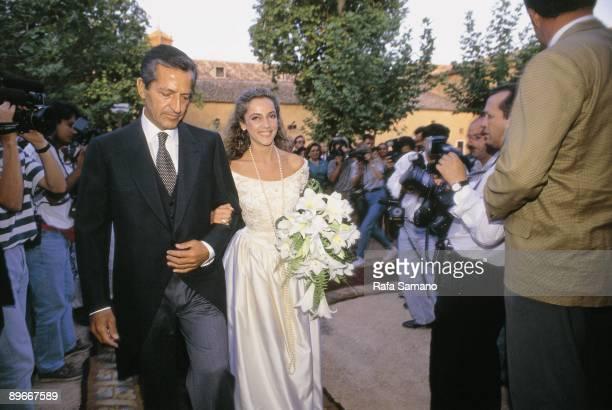 Wedding of Pocholo Martinez Bordiu with Sonsoles Suarez Sonsoles Suarez is accompanied by her father Adolfo Suarez