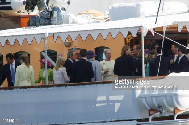Wedding of Prince Frederik and Mary Donaldson party on the royal yacht in Copenhagen Denmark on May 13 2004