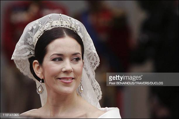 Wedding of Prince Frederik of Denmark and Mary Donaldson After the ceremony in Copenhagen Denmark on May 14 2004