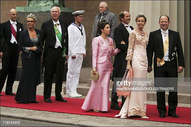 Wedding of Prince Frederik of Denmark and Mary Donaldson arrivals at the cathedral in Copenhagen Denmark on May 14 2004 Marina and prince Filiberto...
