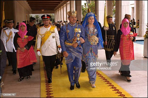 Wedding of the crown prince of Brunei with Dayangku Sarah ceremony at the palace Istana in Bandar Seri Bagawan Brunei Darussalam on September 09 2004