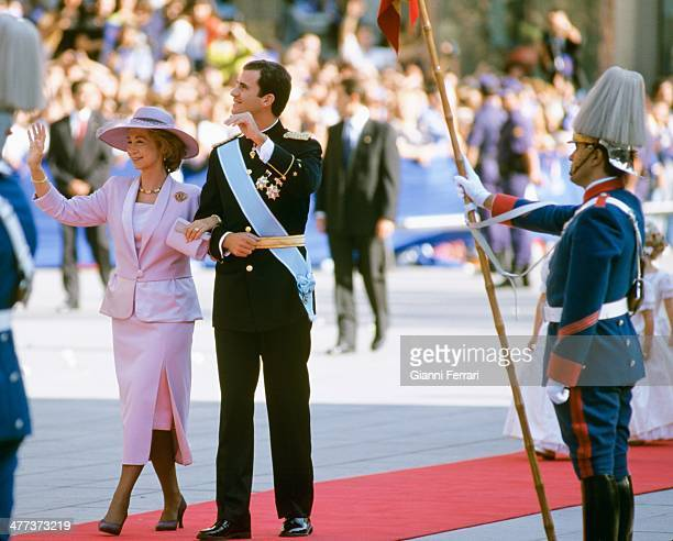 Wedding of the Infanta Cristina of Borbon and Inaqui Urdangarin arrival at the Cathedral of Barcelona of the Spanish Queen Sofia of Greece and her...
