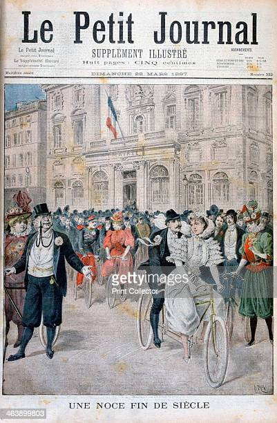 A wedding on a bicycle France 1897 An illustration from Le Petit Journal 28th March 1897