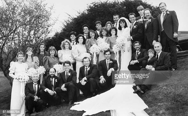 Wedding party of Maria Shriver and Arnold Schwarzenegger at the Shriver home in Hyannisport The bridesmaids from the left are Renee Schink Charlotte...