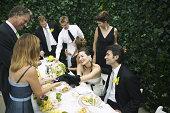 Wedding party socializing
