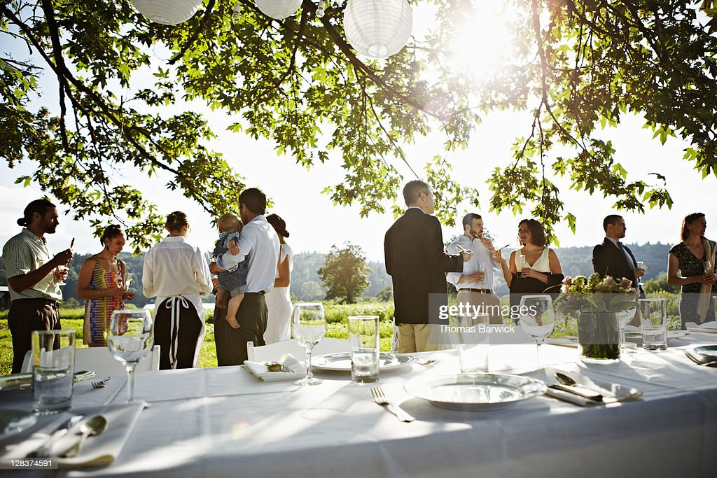 Wedding party standing eating appetizers in field : Stock Photo