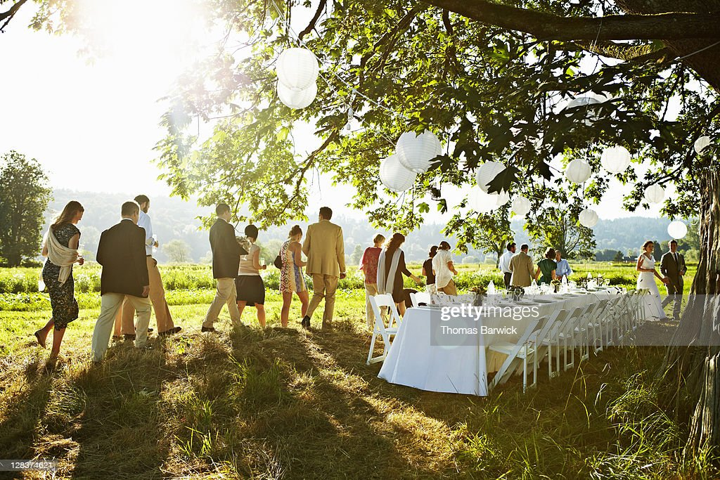Wedding party walking to table under tree in field : Stock Photo