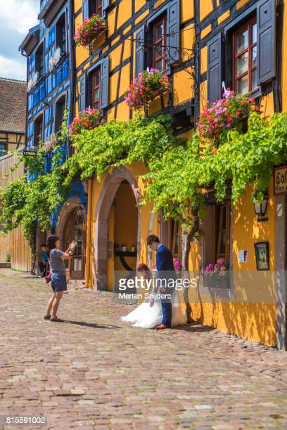 Wedding photography in historical Riquewihr streets