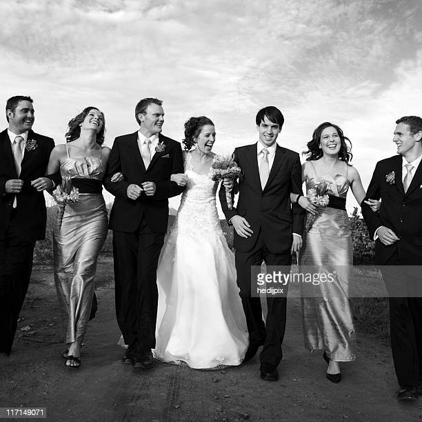 Wedding picture with husband, wife and best men and women