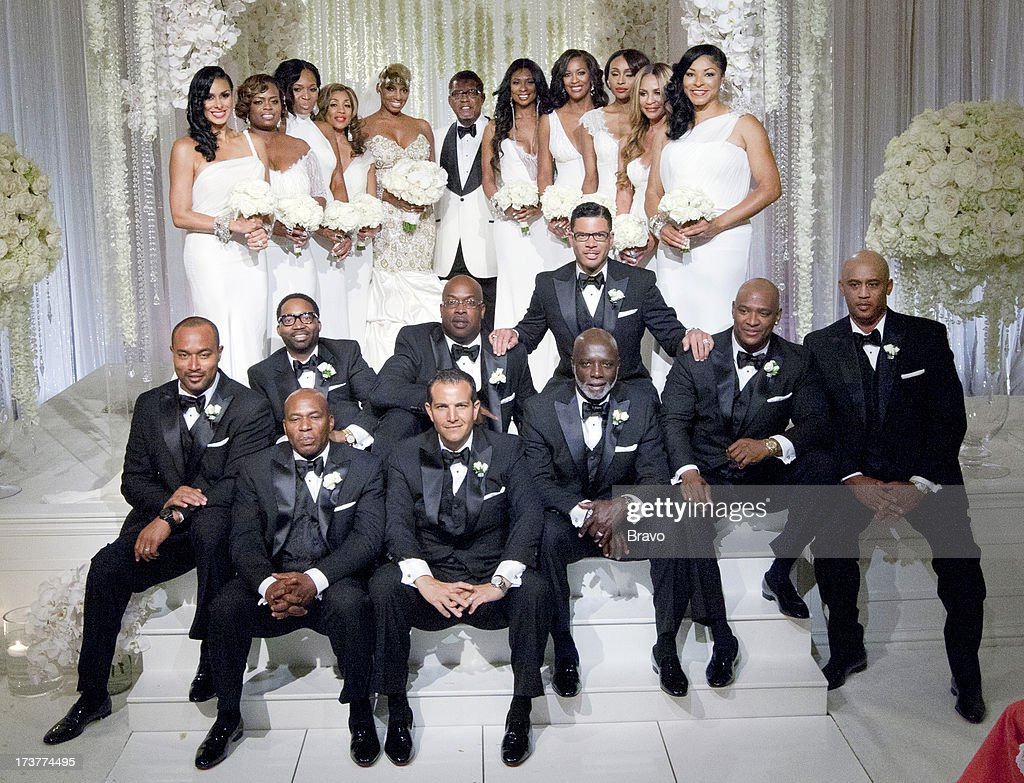 Bridesmaids Laura Govan, Lexis Mason, Marlo Hampton, Pat Sumpter-Davis, bride <a gi-track='captionPersonalityLinkClicked' href=/galleries/search?phrase=NeNe+Leakes&family=editorial&specificpeople=5446374 ng-click='$event.stopPropagation()'>NeNe Leakes</a>, groom Gregg Leakes, bridesmaids Jennifer Williams, <a gi-track='captionPersonalityLinkClicked' href=/galleries/search?phrase=Dawn+Robinson&family=editorial&specificpeople=620700 ng-click='$event.stopPropagation()'>Dawn Robinson</a>, <a gi-track='captionPersonalityLinkClicked' href=/galleries/search?phrase=Cynthia+Bailey&family=editorial&specificpeople=3055318 ng-click='$event.stopPropagation()'>Cynthia Bailey</a>, Mashella Hampton, Diana Gowins (middle row) Groomsmen Chuck Smith, Theo Davis, Alvin Pitts, Al Reynolds, unknowns (front row) unknown, Joe Habachy, Peter Thomas --