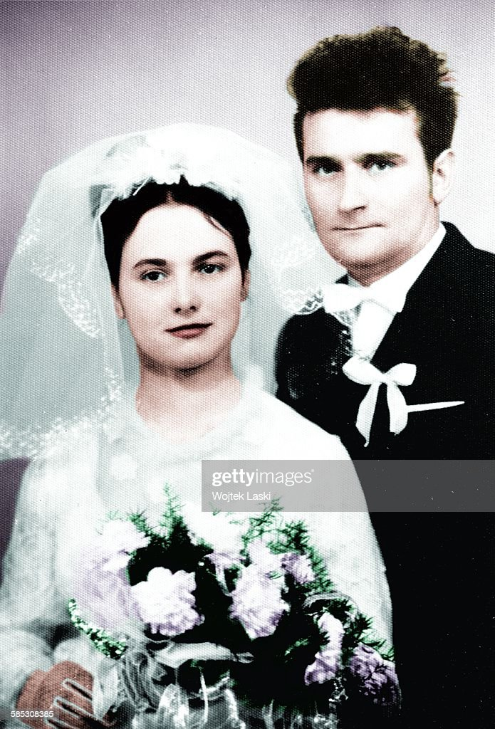 A wedding portrait of Polish politician and trade-union organizer <a gi-track='captionPersonalityLinkClicked' href=/galleries/search?phrase=Lech+Walesa&family=editorial&specificpeople=93677 ng-click='$event.stopPropagation()'>Lech Walesa</a> his wife, Miroslawa Danuta Golos, Gdansk, Poland, 8th November 1969.