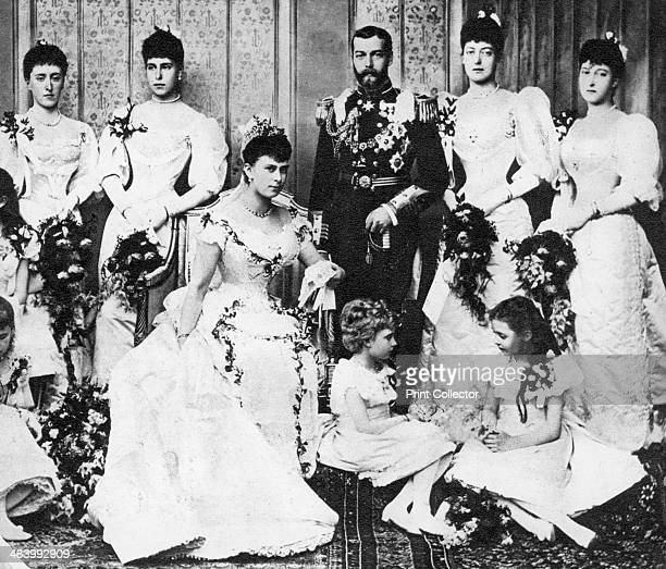 Wedding portrait of Prince George and Princess Mary of Teck 6 July 1893 Wedding group of the future King George and Queen Mary Illustration from...