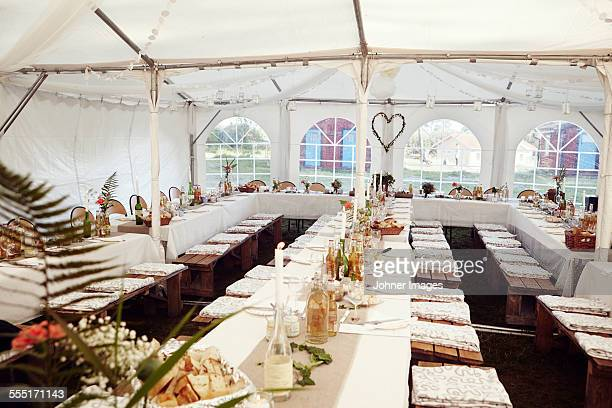 Wedding reception in tent
