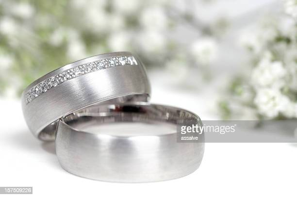 wedding ring and gypsophila in background