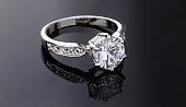 Brilliant Diamond Ring on black background