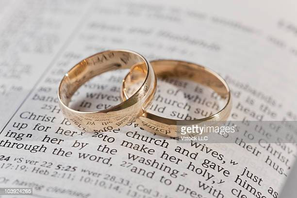 wedding rings on top of an open bible - Christian Wedding Rings