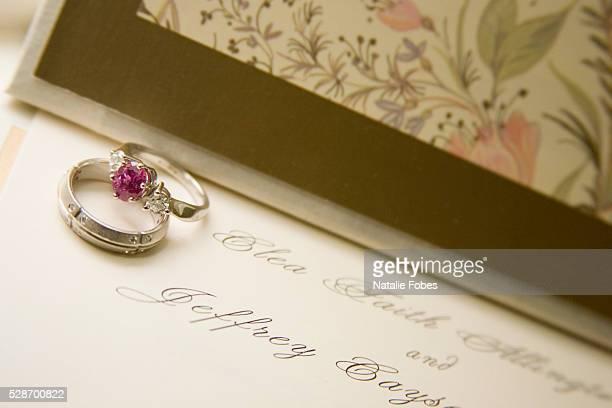 Wedding Rings on Wedding Invitation
