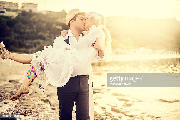 Wedding romance at the beach