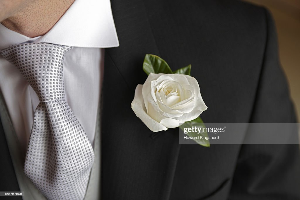 Wedding Rose buttonhole : Stock Photo