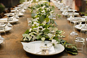 Wedding table setting on a long wood table