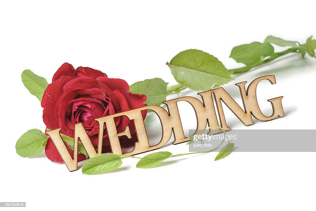 Wedding Wooden sign with  red rose : Stock Photo