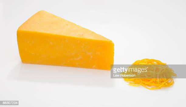 Wedge and Shredded Cheddar Cheese on White