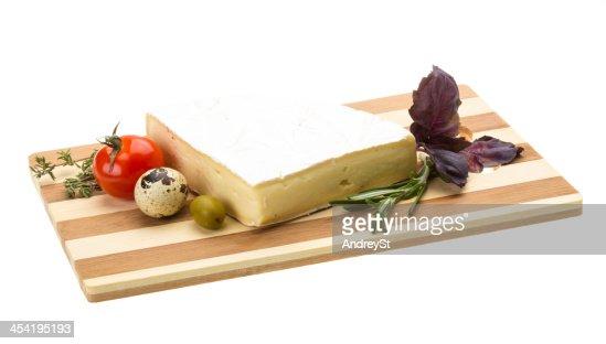 Fatia de queijo Brie Gastrónomo : Foto de stock