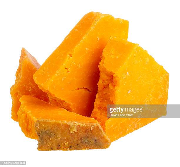 Wedges of cheddar cheese