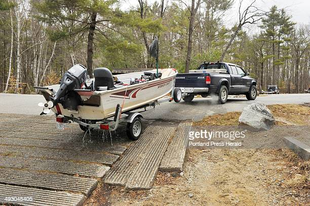 Wednesday April 10 2013S=Sebago Lake public boat launch sites Dan Hillier of Naples prepares to take out his boat at the boat launch at Sebago Lake...