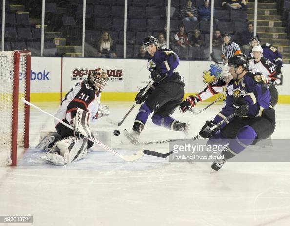 Wednesday December 14 2011 Portland Pirates vs the Manchester Monarchs hockey Pirate goalie Curtis McElhinney blocks a scoring attempt from Monarch...