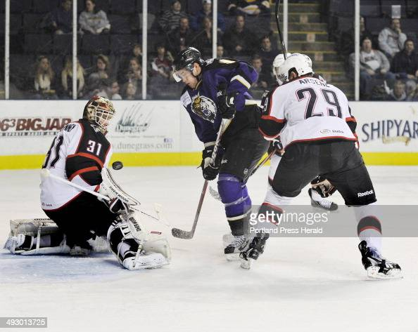 Wednesday December 14 2011 Portland Pirates vs the Manchester Monarchs hockey Monarch Linden Vey looks for the rebound after being stopped on his...