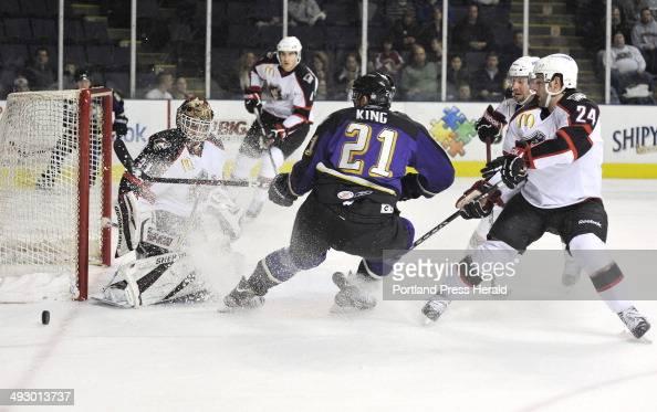 Wednesday December 14 2011 Portland Pirates vs the Manchester Monarchs hockey Portland goalie Curtis McElhinney blocks a scoring bid by Manchester's...