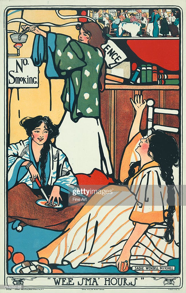 Wee Sma' Hours showing three young female college students in their dorm room socializing in the middle of the night Chromolithograph by Sadie...