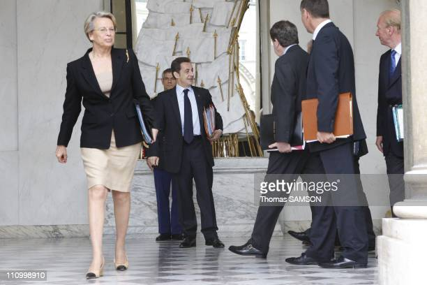 Weekly Ministers Council at the Elysee Palace in Paris France on June 4th 2008 Michele AlliotMarie Minister for Interior French President Nicolas...