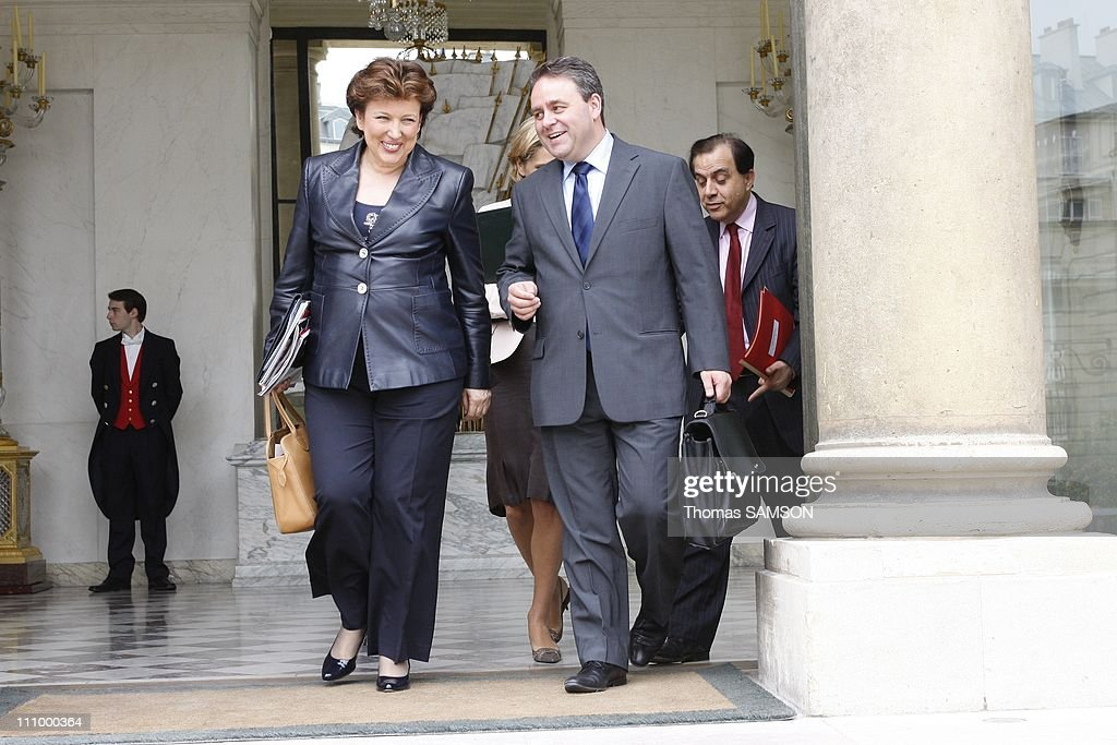 Weekly Ministers Council at the Elysee Palace in Paris France on June 4th 2008 Roselyne BachelotNarquin Minister for Health Youth and Sports Xavier...