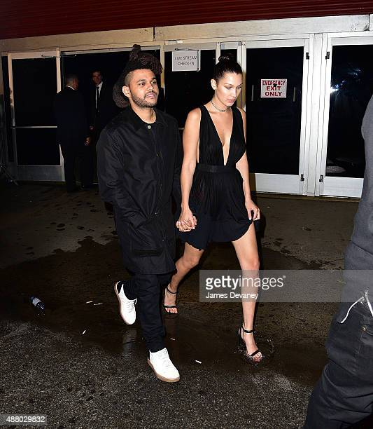 Weeknd and Bella Hadid leave the Alexander Wang fashion show at Pier 94 for on September 12 2015 in New York City