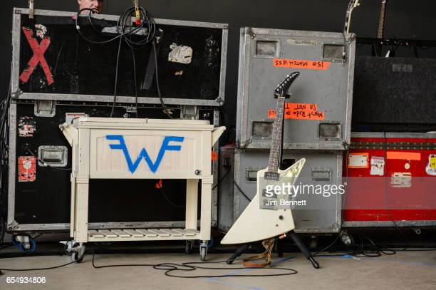 Weezer equipment detail on stage at Rachael Ray's Feedback party during SxSW at Stubb's BBQ on March 18 2017 in Austin Texas