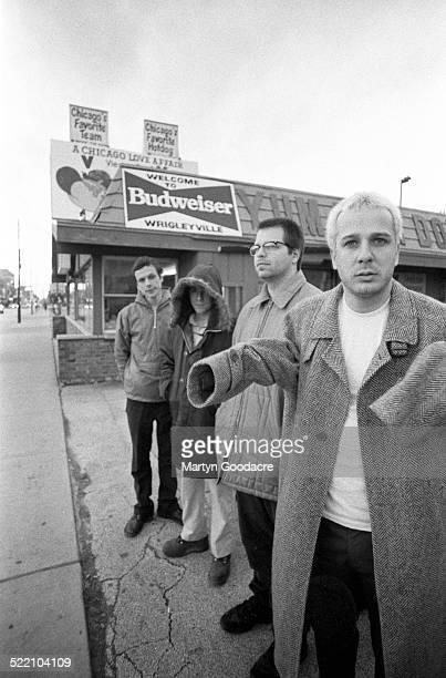 Weezer pose for a group portrait in Chicago United States 1996 L To R Brian Bell Rivers Cuomo Patrick Wilson and Mat Sharp