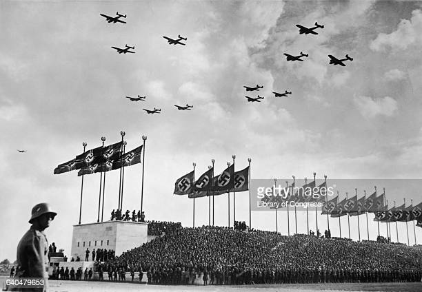 Wehrmacht Bombers Flying over Crowd