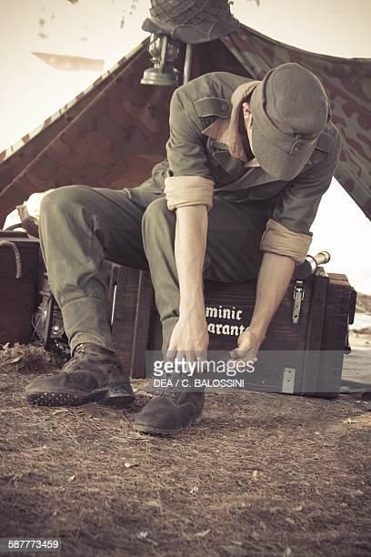 Wehrmacht soldier in a camp Second World War 20th century Historical reenactment