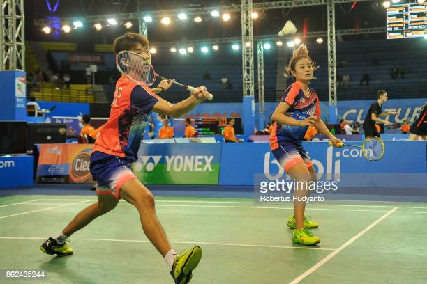 Wei Chong Man and Sueh Jeou Tan of Malaysia compete against Emre Sonmez and Ilayda Nur Ozelgul of Turkey during Mixed Double qualification round of...