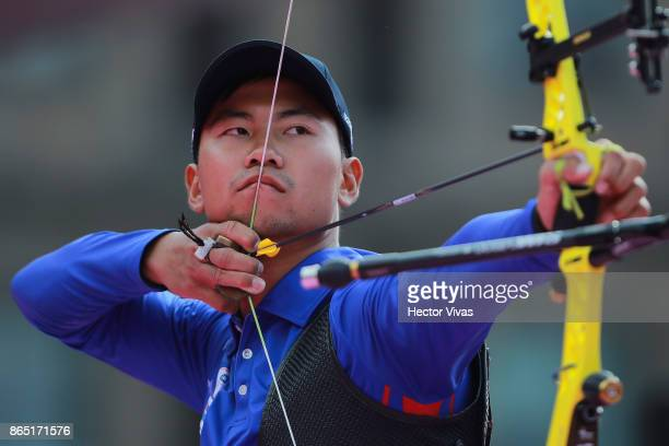 Wei Chun Heng of China Taipei lines up an arrow during the Gold Recurve Men Competition as part of the Mexico City 2017 World Archery Championships...